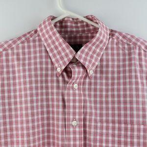 Jos A Bank Red Plaid Dress Shirt Large Long Sleeve
